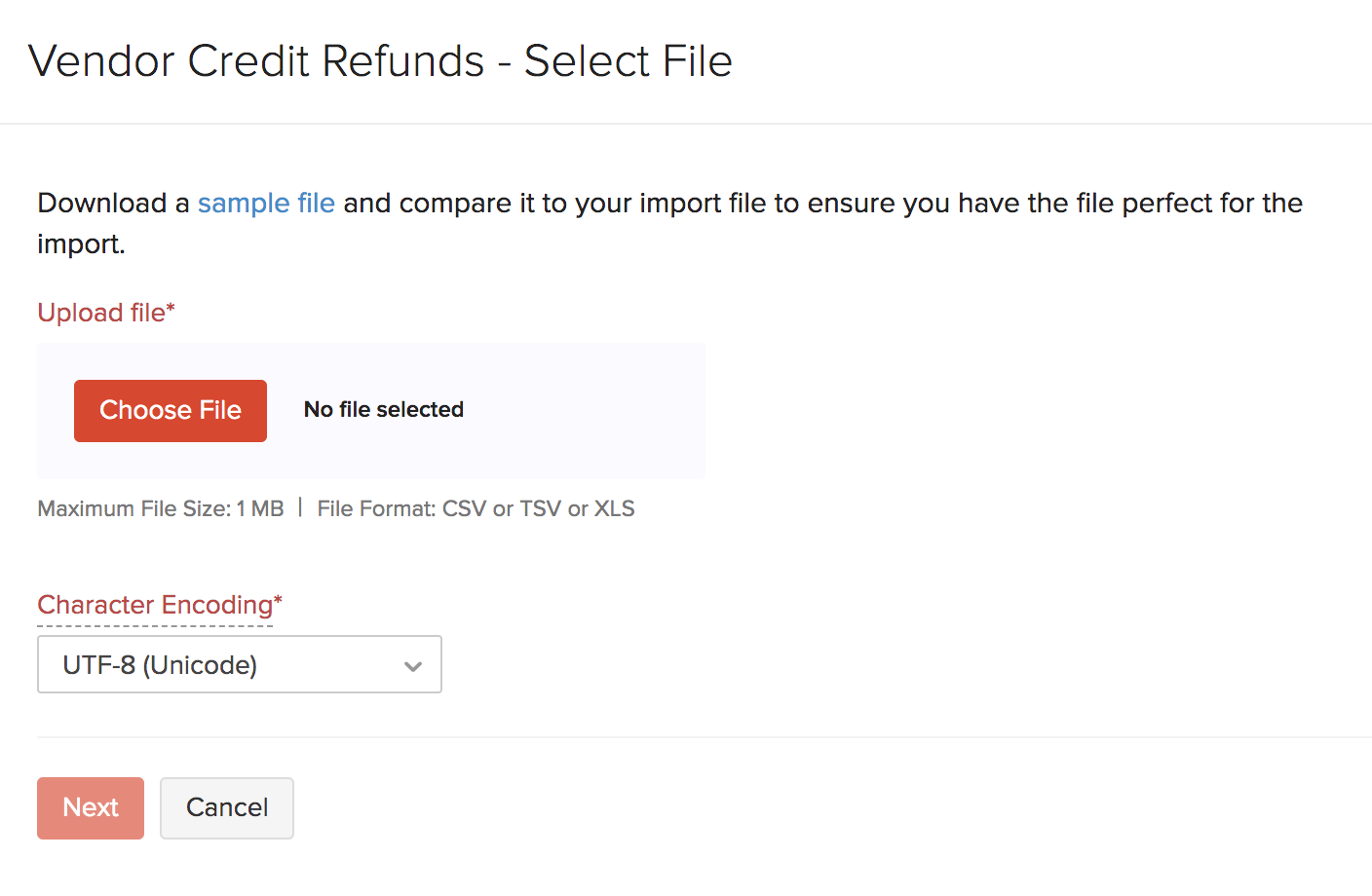 Import Refunds - upload file