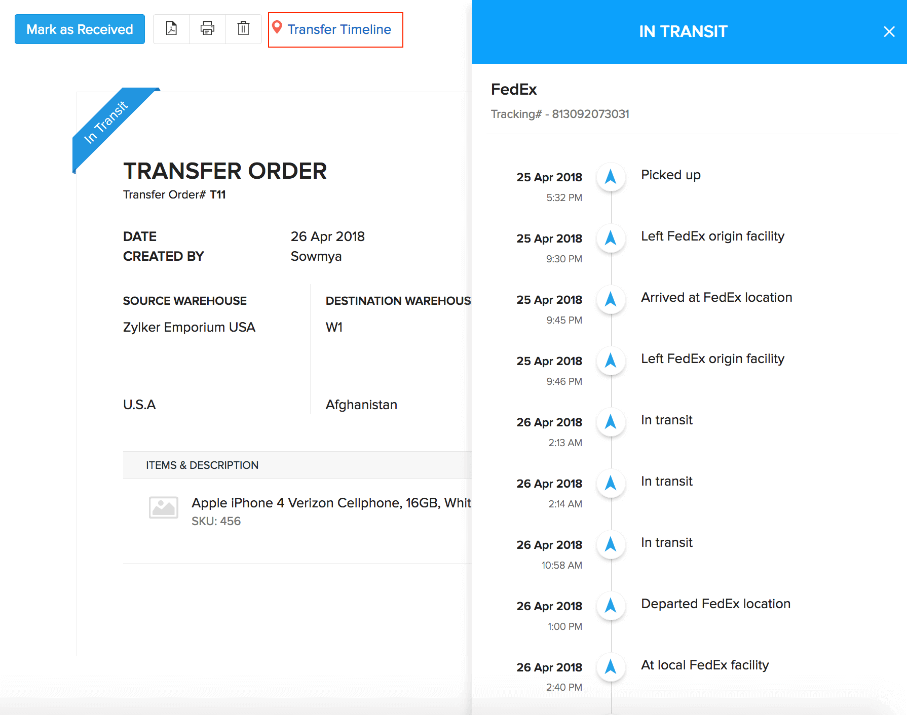 A slider tab populating real time transfer status