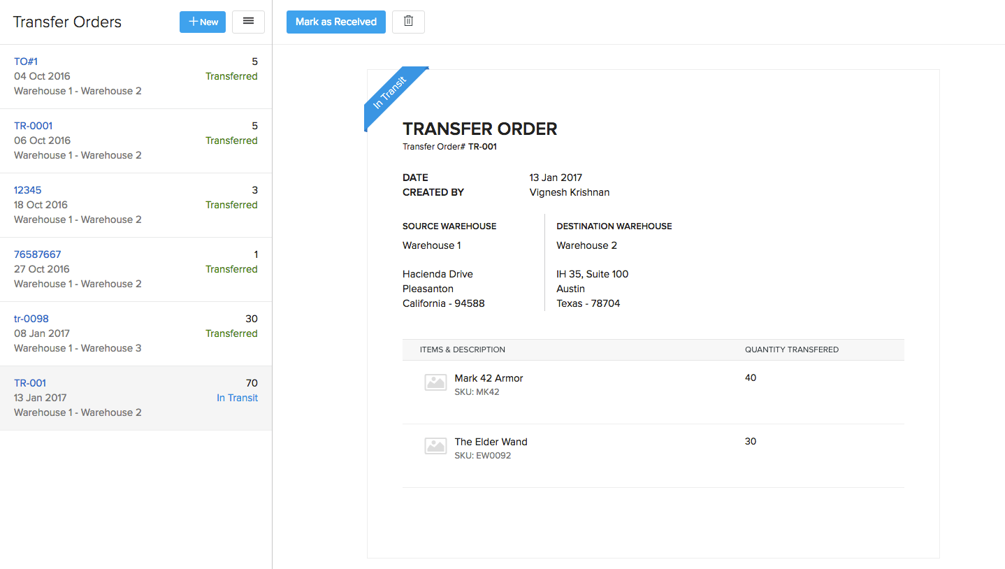 Transfer Order Receive step 1