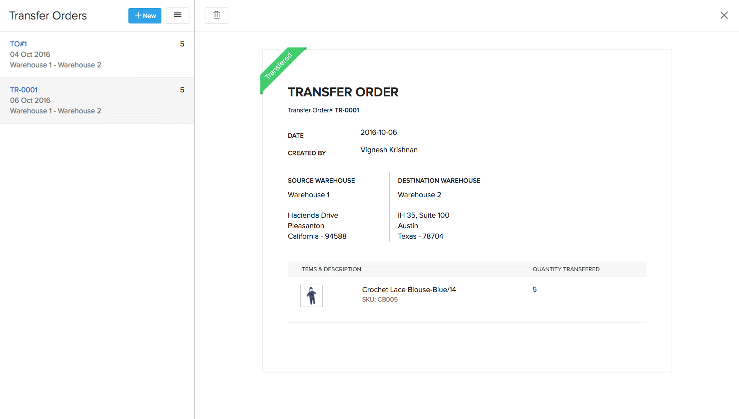 Transfer Order After Update
