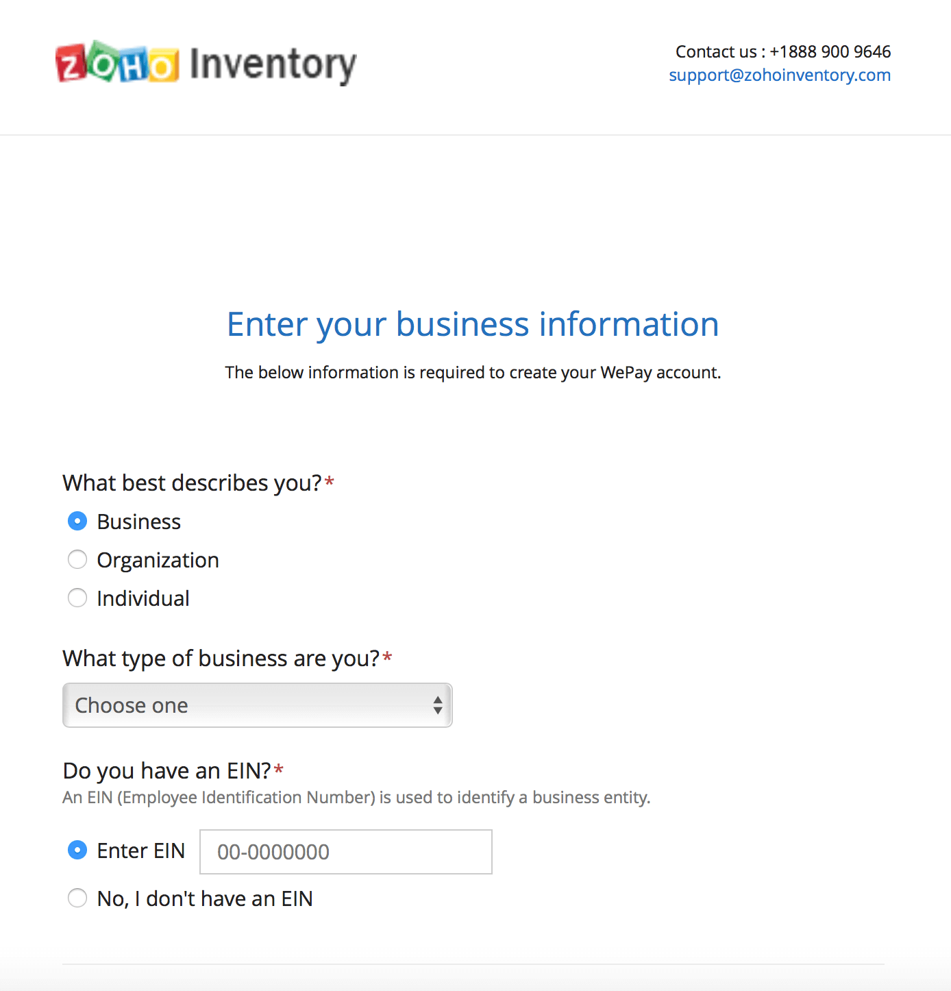 WePay business information profile
