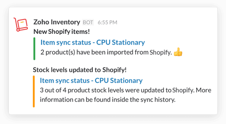 Items Sync notification in Slack