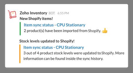 Items Sync notification in Slack