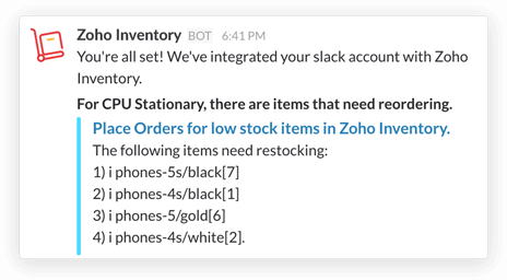 Reorder notification in Slack