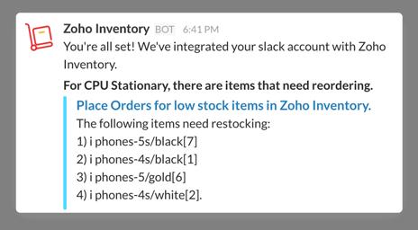 Reorder notification in Slack
