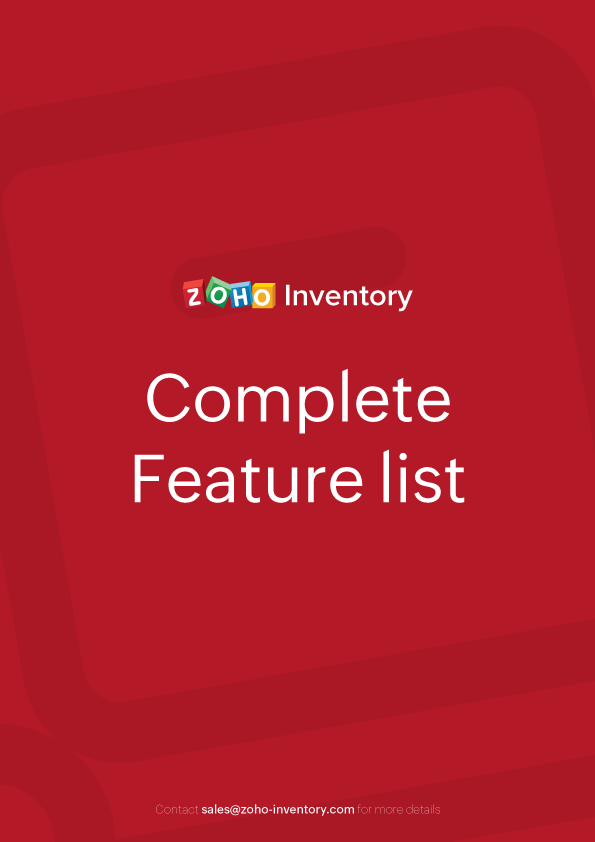 Zoho Inventory Features - Guide