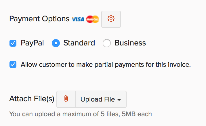 Option to allow partial payments on the new invoice page