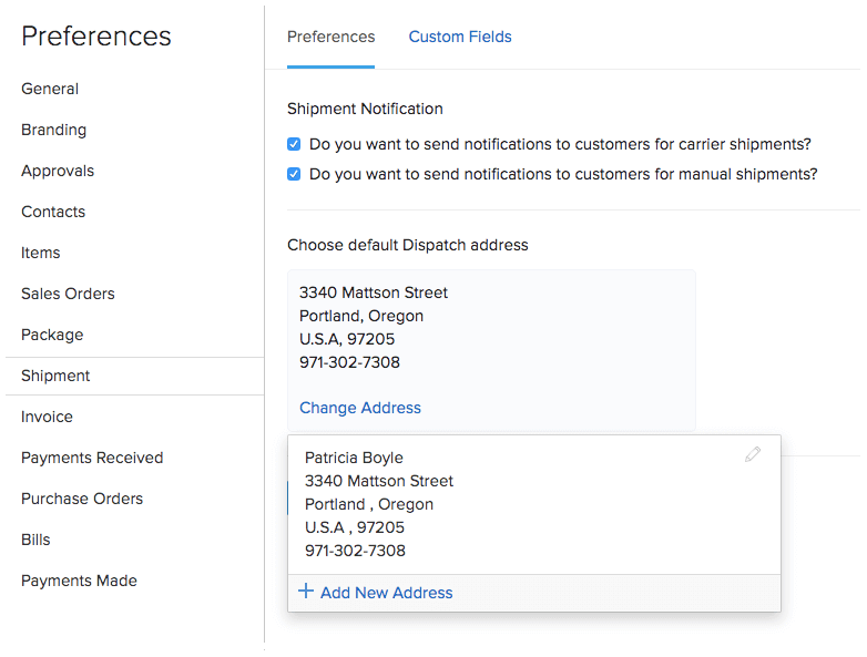 Shipping Preferences - Default dispatch address