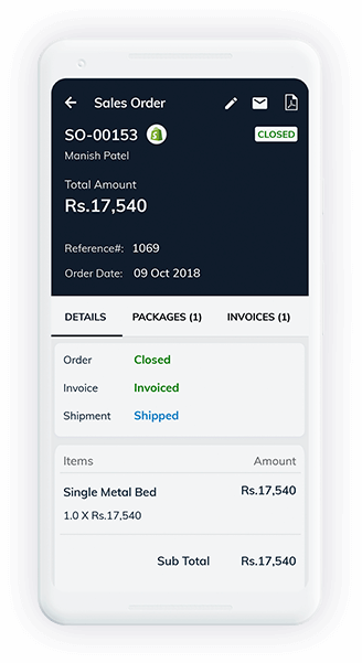 Android app dashboard - Zoho Inventory