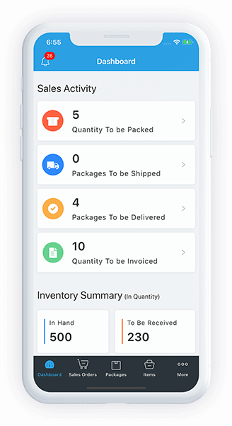 Mobile app dashboard - Zoho Inventory