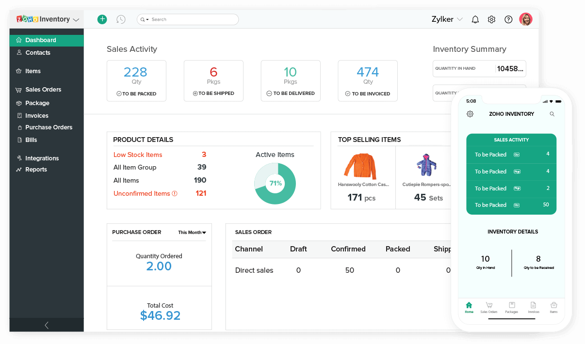 Dashboard - Online Inventory Management Software | Zoho Inventory
