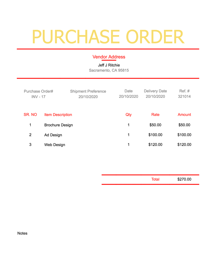 Basic Purchase Order Template | Purchase Order