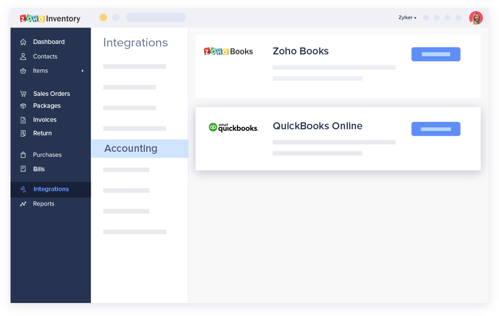 Zoho Inventory and QuickBooks online integration dashboard