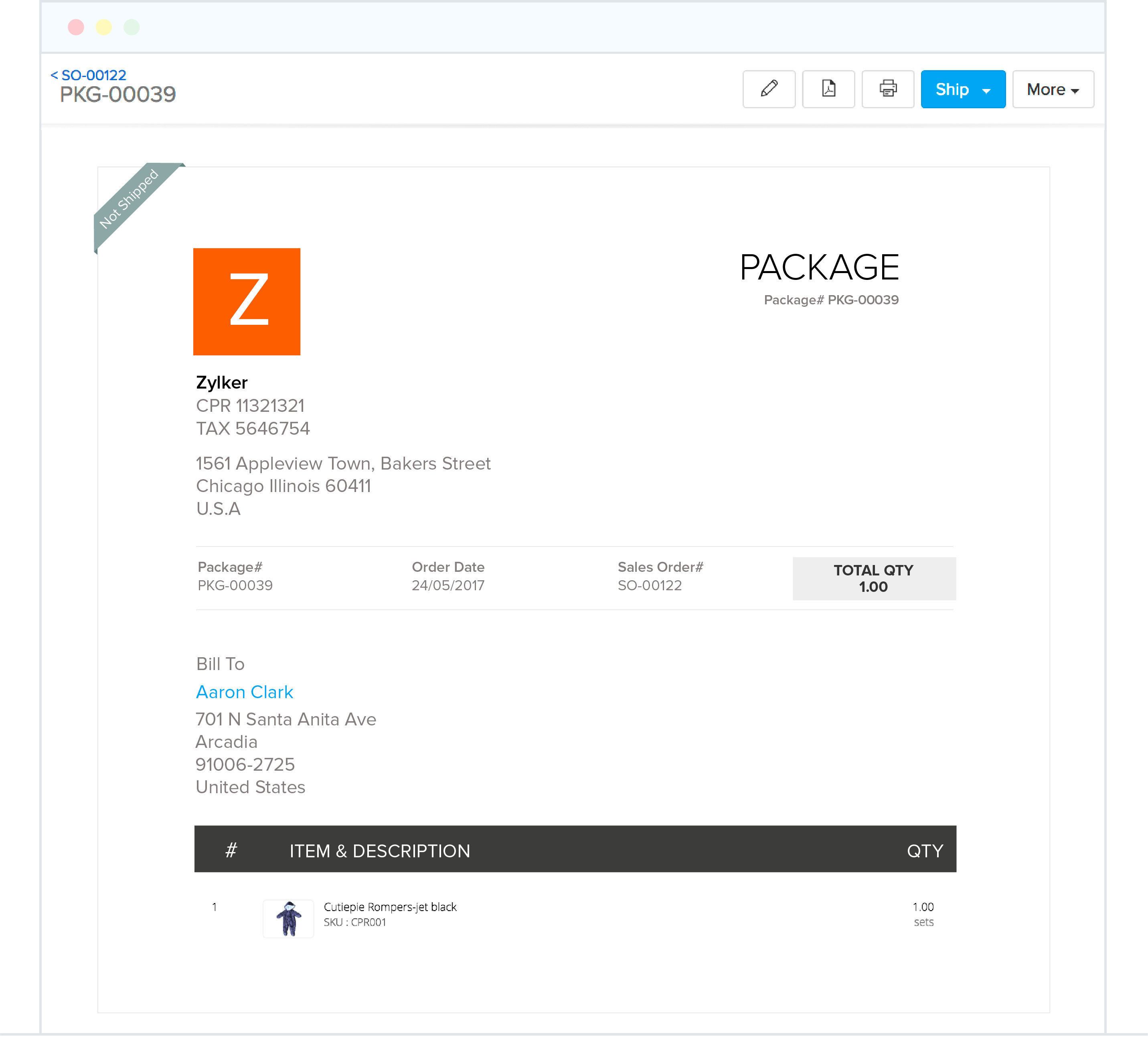 Package and shipping  - Zoho Inventory