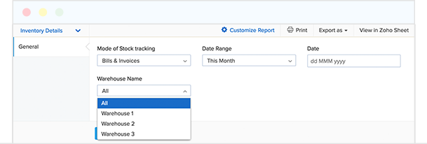 Comprehensive reports on warehouses - Zoho Inventory