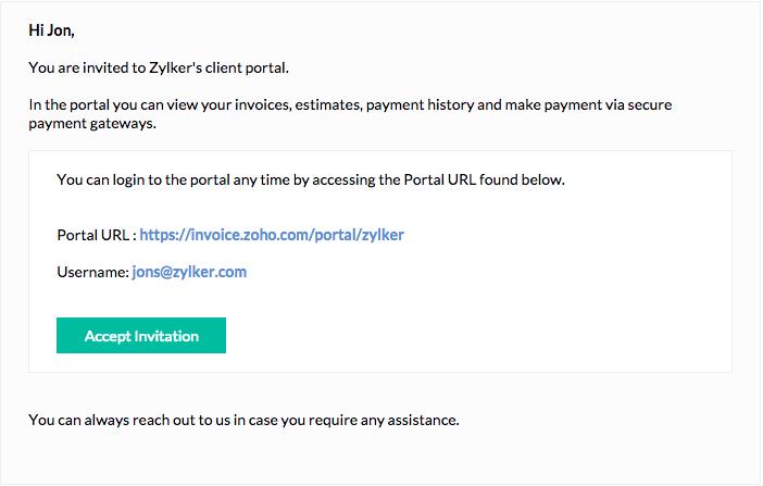 Accept Invite to client portal