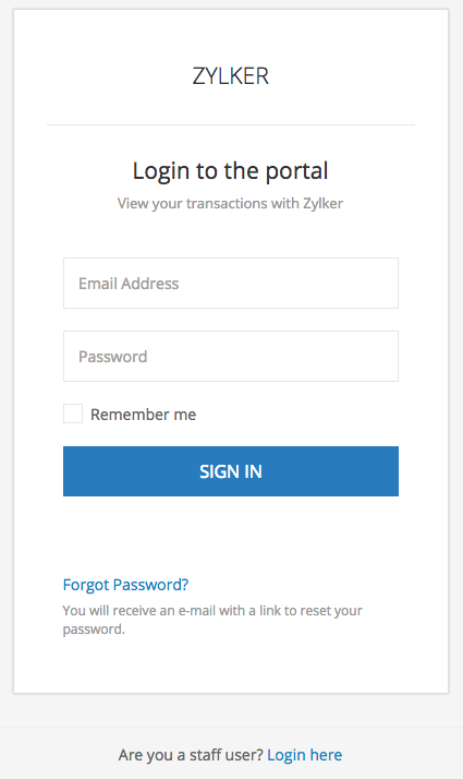 Create password for client portal