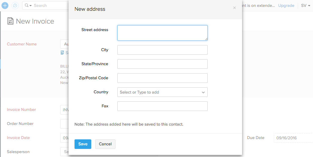 Add address on the fly