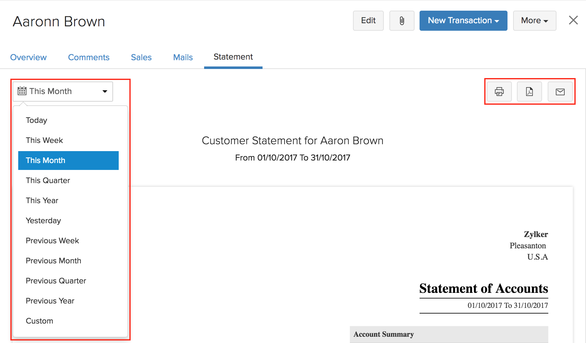 Viewing Customer Statements