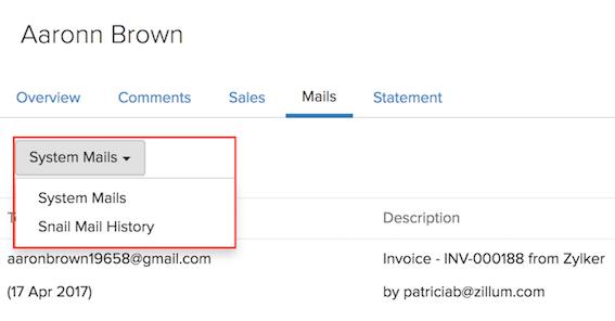 Snail Mails tab