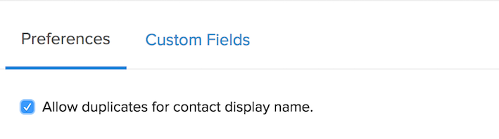 Duplicate Contact Display Name