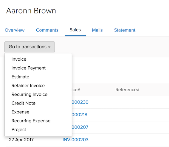 Go to Transactions dropdown
