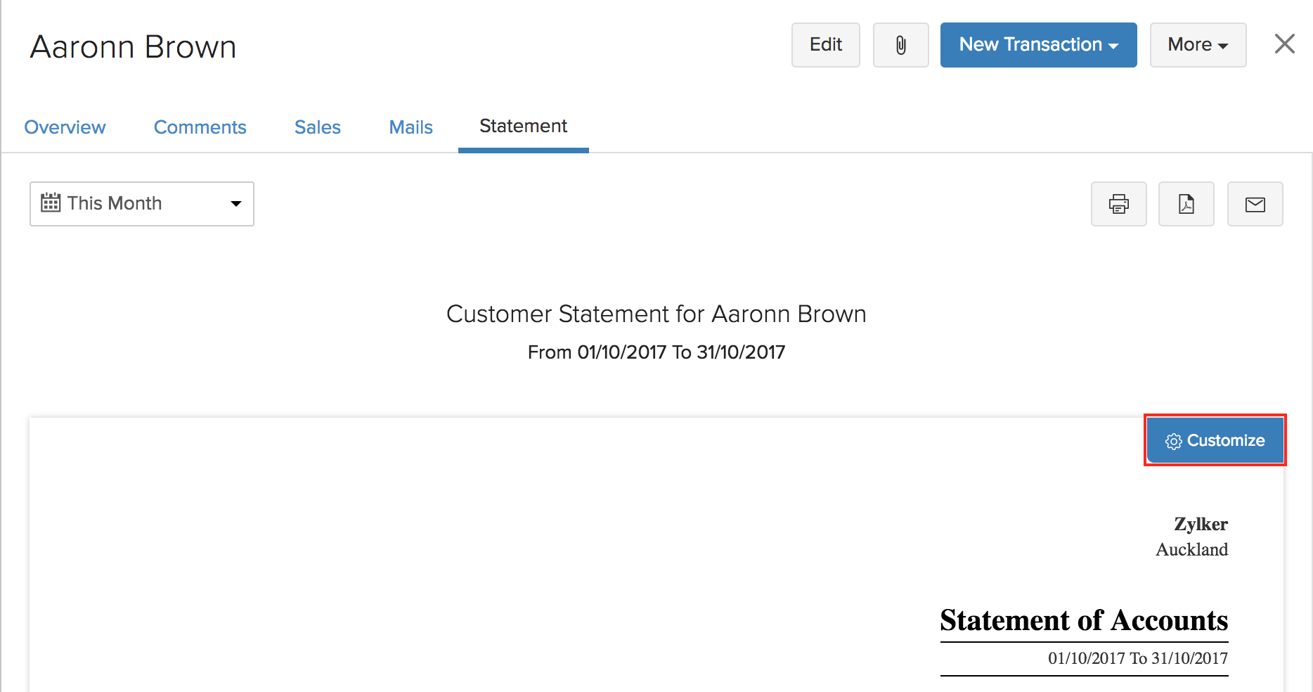 Customer Statement Customization