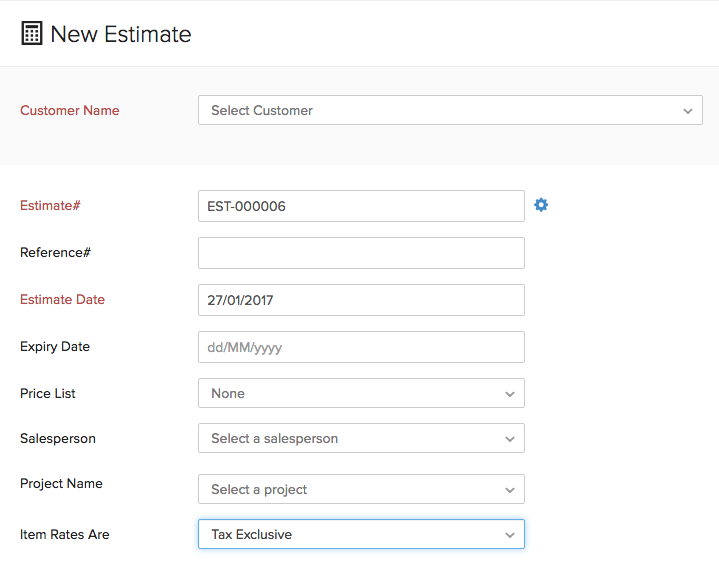Estimate Customer Details