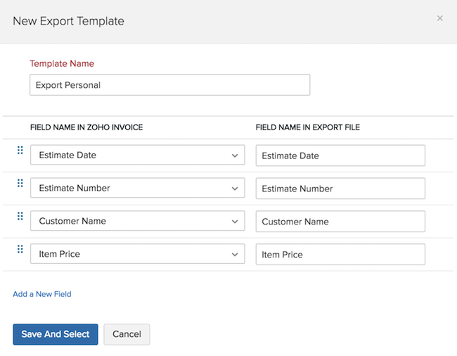Export Estimates template