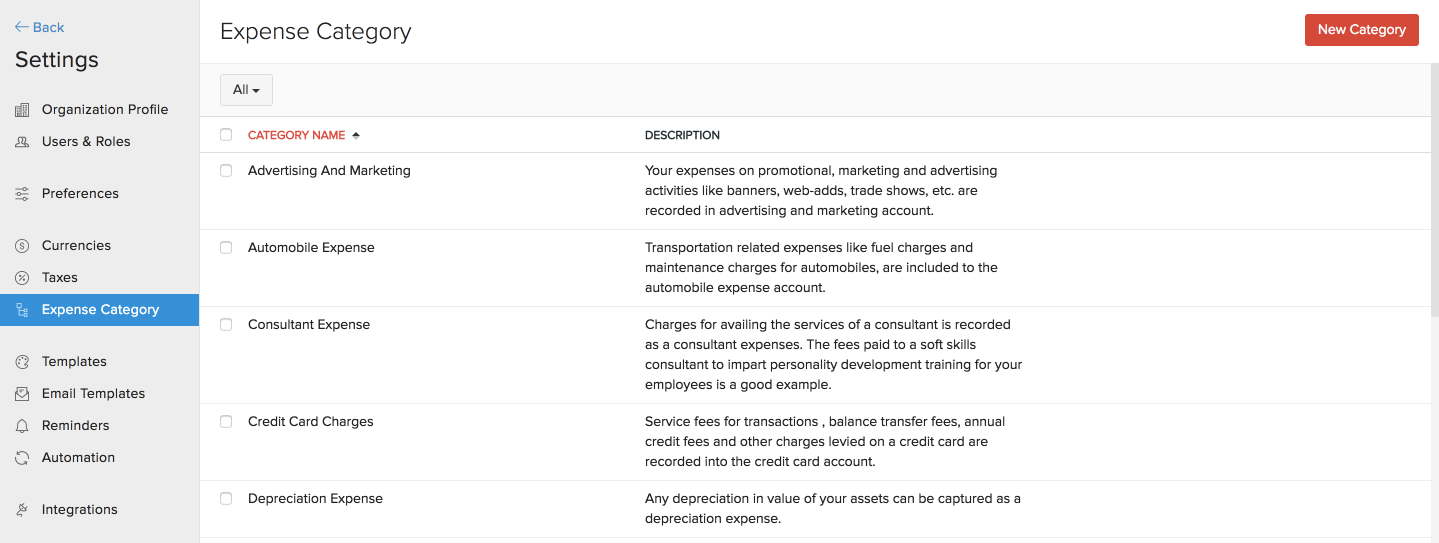 track expenses expense categories help zoho invoice