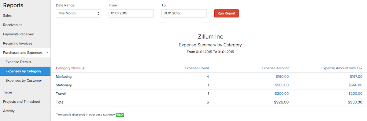 reports on expenses in zoho invoice help zoho invoice