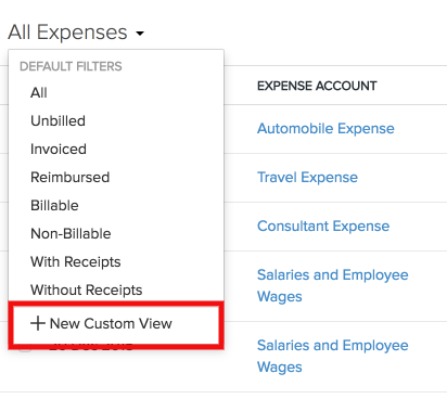 Expense custom view