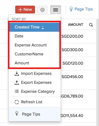 Expense sorting