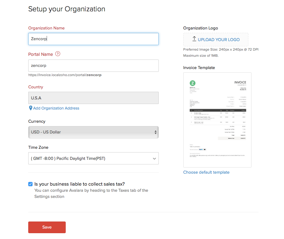 Zoho Invoice Getting Started Organization Details