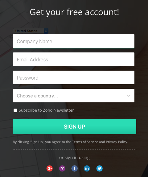 Signup for Zoho Invoice