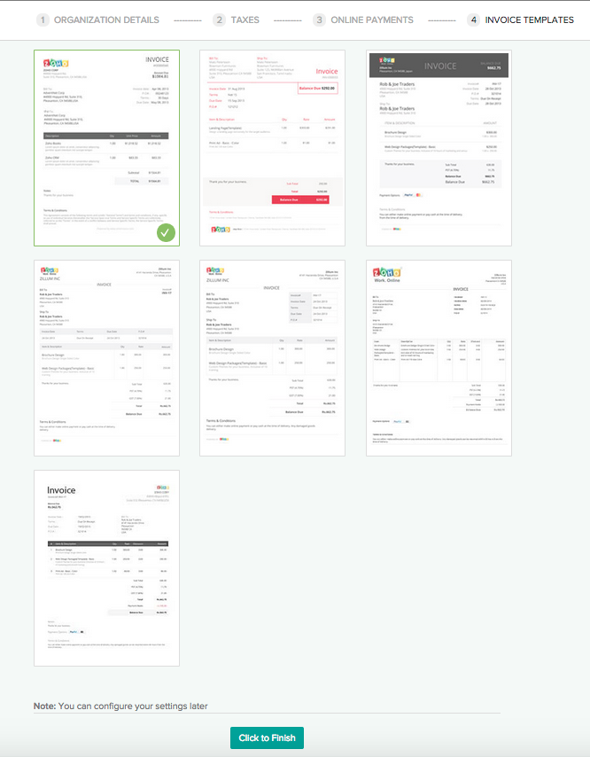 Templates in Zoho Invoice
