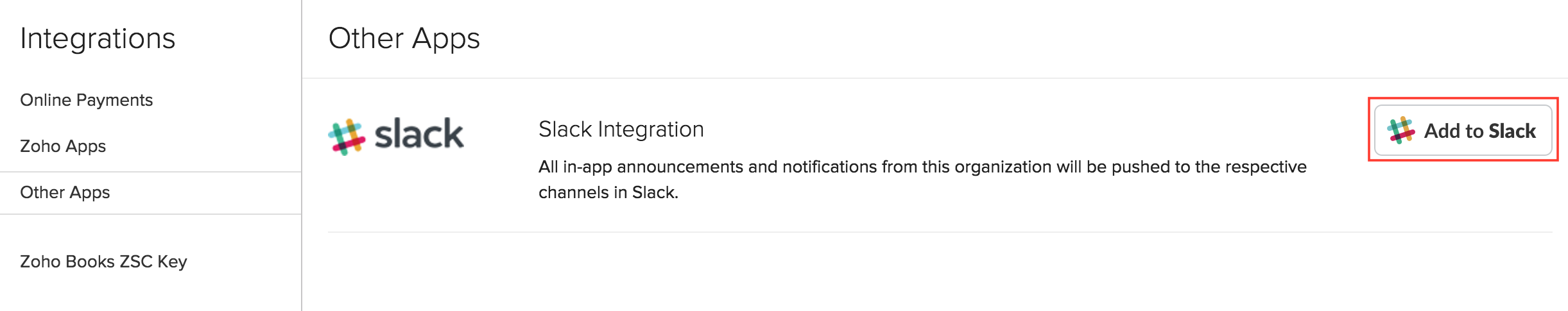 Add to Slack button