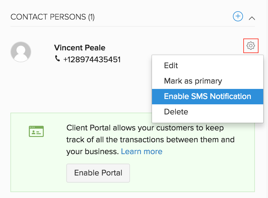 Enable Contact Person SMS Notification