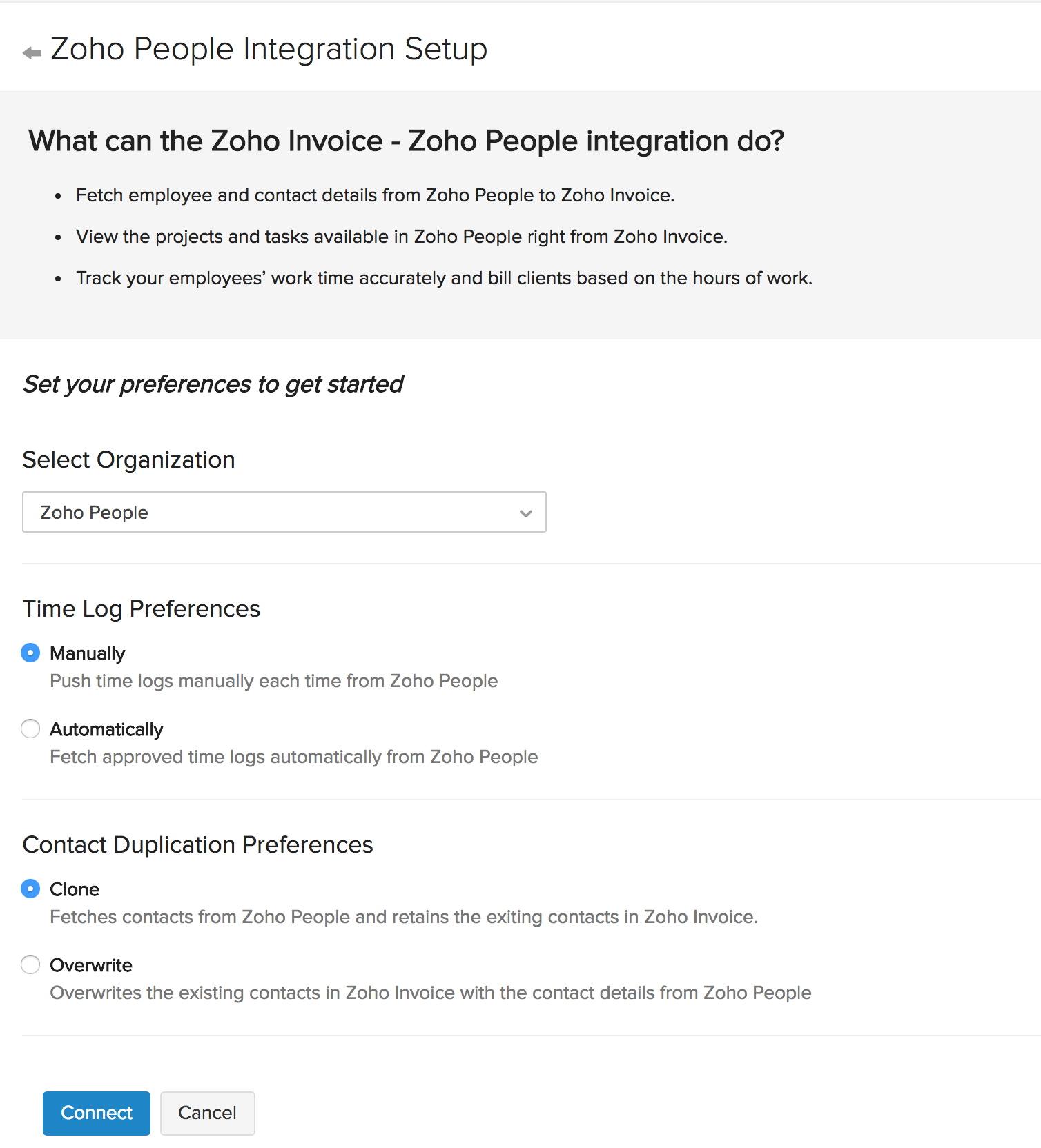 Integration Setup Page