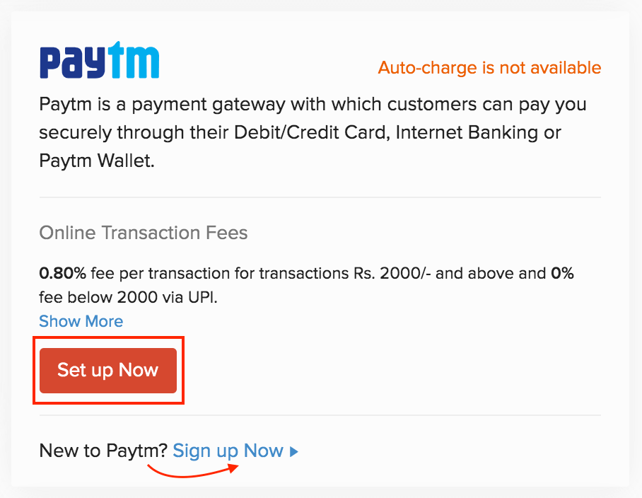 Set up Paytm