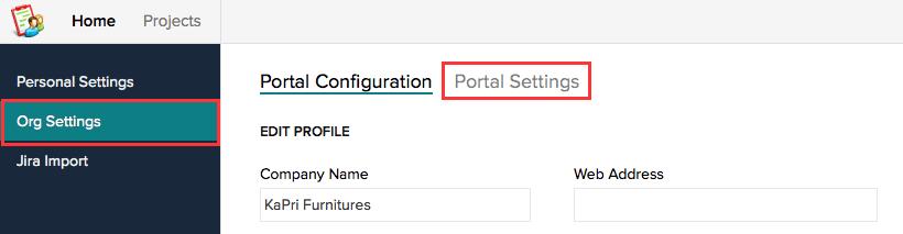 Portal Settings