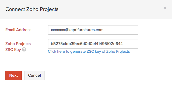 ZSC Key Zoho Invoice