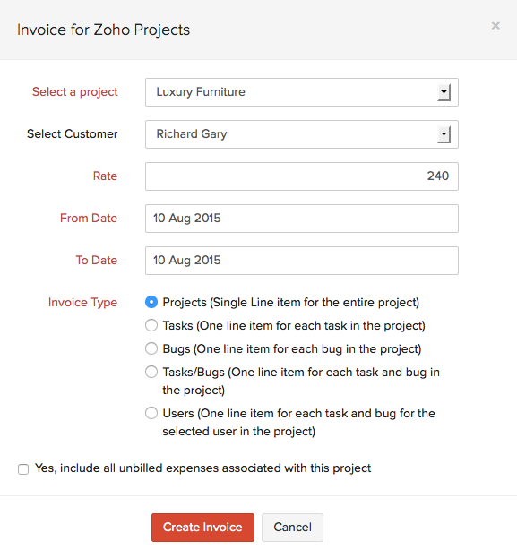 Invoice for Zoho Projects