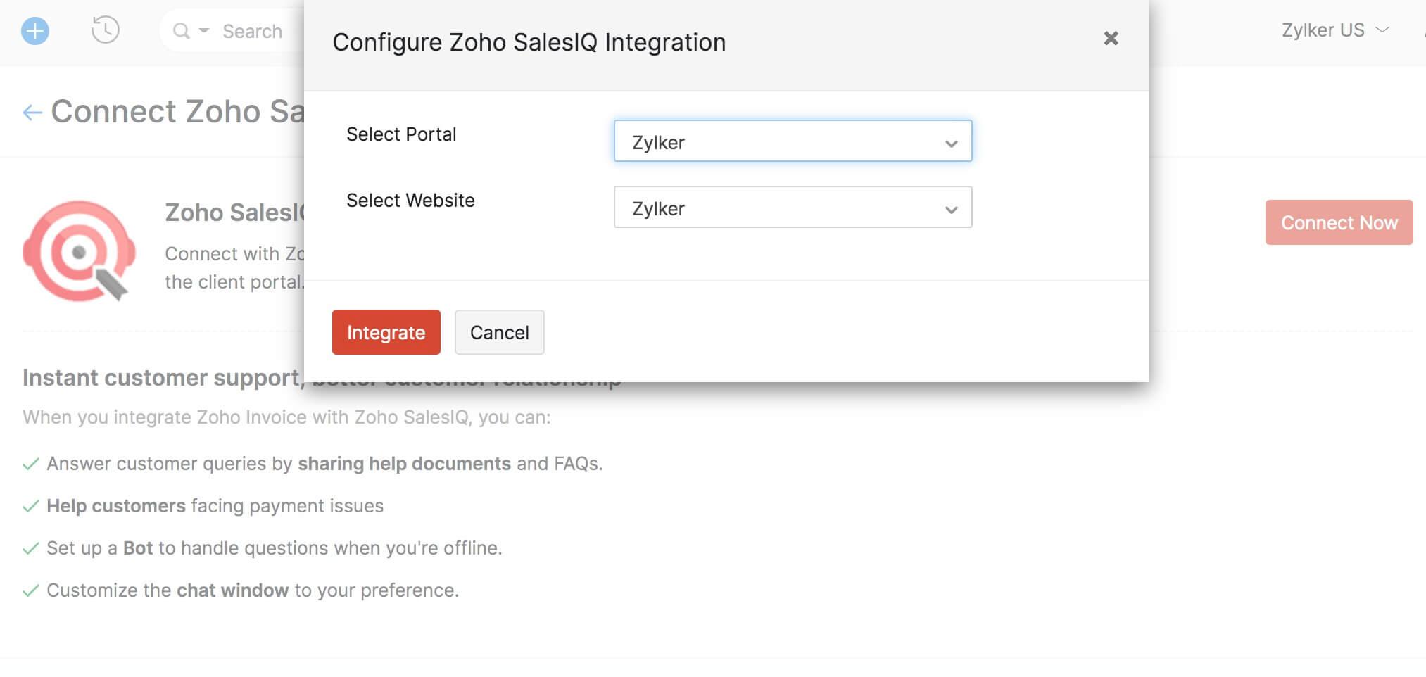 Connect Zoho SalesIQ
