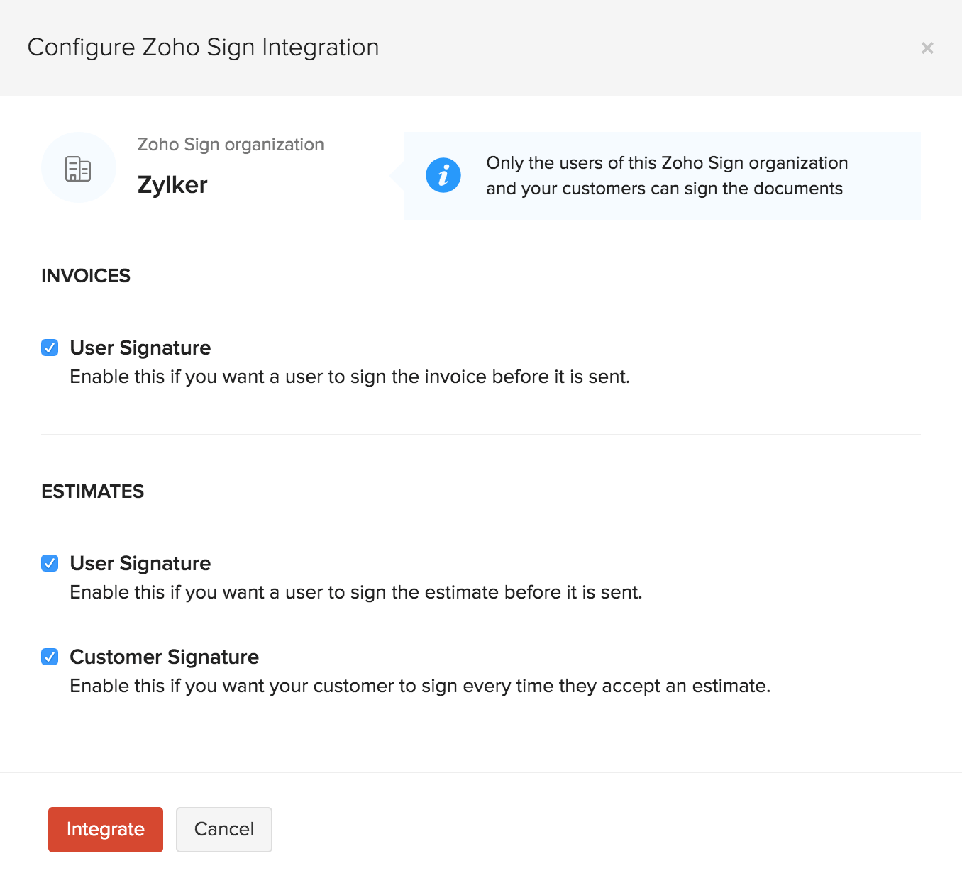 Configure Sign integration