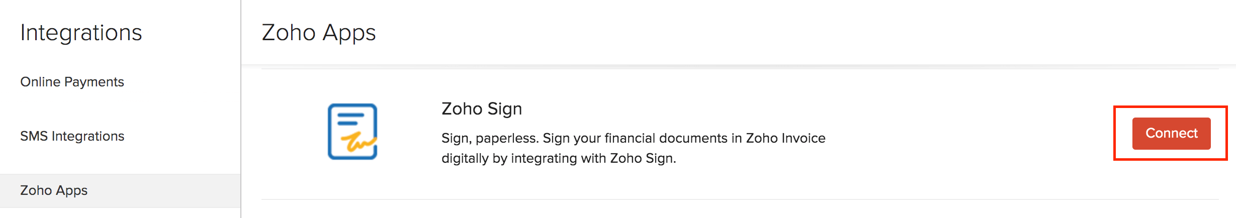 Connect Zoho Sign