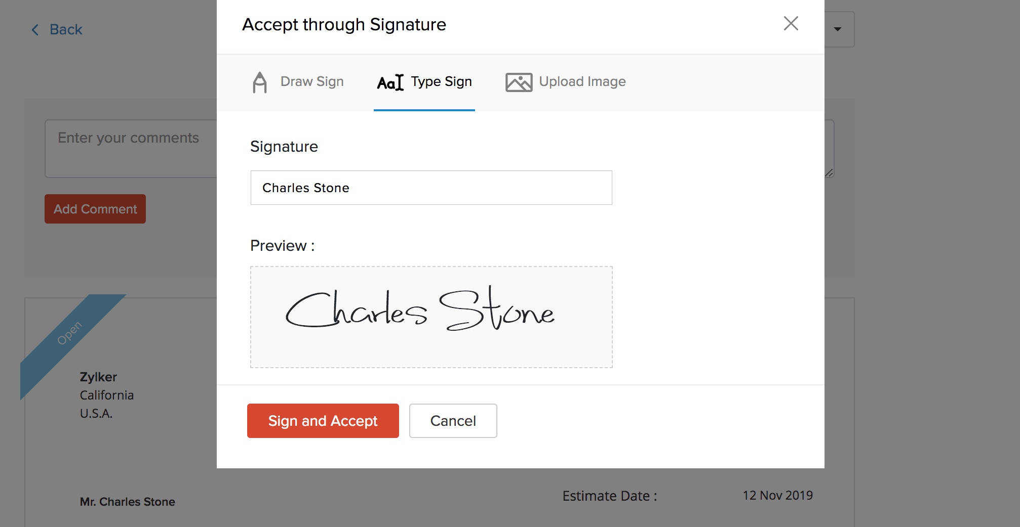 Customer signature in Client Portal