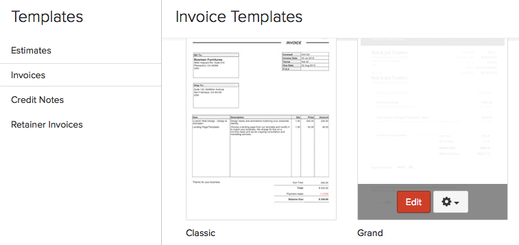 invoice layout help document zoho invoice