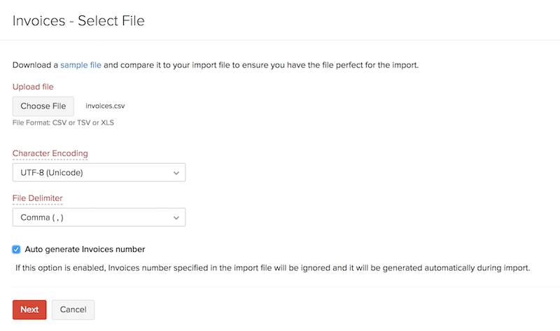 Importing Invoices - Choose File