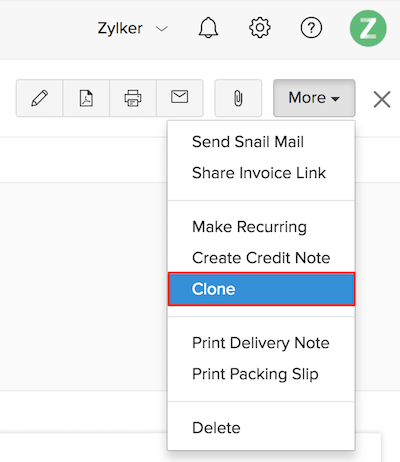 Cloning an invoice